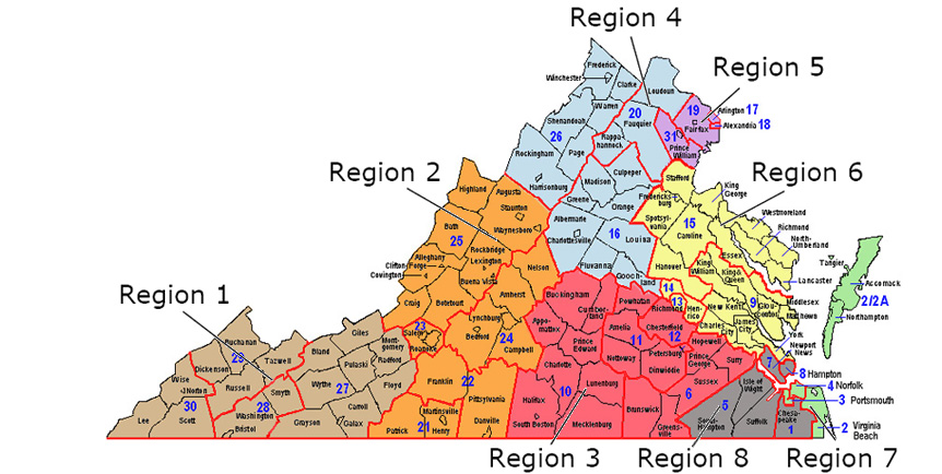 Map Of Va Magistrate Regional Map Map Of Va